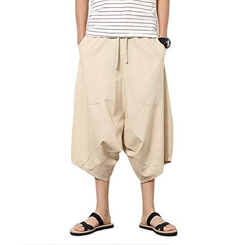 Hippie Hombres Cortos Pierna De Del La Pantalones Playa Braun Ancha Harén Cómodo Con Harem Los Ocasionales Verano Color Sólido Moda Flojos qApUn