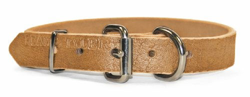 "Dean and Tyler ""B and B"", Basic Leather Dog Collar with Strong Nickel Hardware – Tan – Size 34-Inch by 1-Inch – Fits Neck 32-Inch to 36-Inch"
