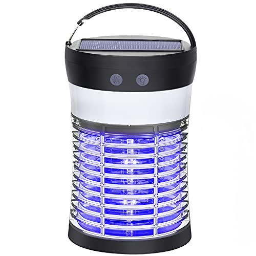 Diotem Bug Zapper, Indoor Outdoor Mosquito Killer USB Powered Solar Bug Mosquito Zapper Waterproof IP66
