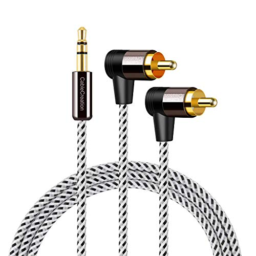 RCA to 3.5MM, CableCreation 3FT 3.5mm to 2RCA Male Stereo Audio Y Splitter Right Angle Cable for TV,Smartphones, MP3, Tablets, Speakers,Home Theater,24K Gold Plated