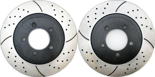Prime Choice Auto Parts PR64145LR Performance Drilled and Slotted Brake Rotor Pair for Front