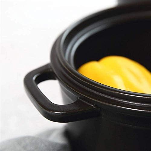 ZJZ Marmite en céramique pour la Cuisson des Plats en cocotte avec couvercles Pots de Cuisson en Terre Cuite - Conduction de Chaleur Rapide, Facile à Nettoyer 3.2L