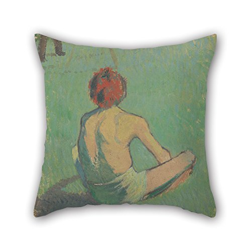 Oil Painting ?mile Bernard - Boy Sitting In The Grass Throw Pillow Case Gift Or Decor For Wife Bedroom Adults Chair Valentine Teens Boys - 2 Sides FunnyLife