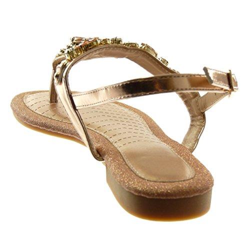 con alla Sandali 5 1 Strass cm Infradito Angkorly Tacco a Caviglia Gioielli Moda Paillette Blocco Scarpe Cinturino Cinturino Donna Champagne wYqPEI
