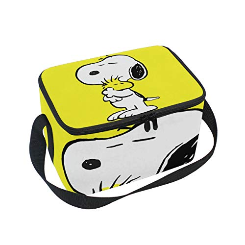 Portable Lunch Box Snoopy and Woodstock Cosmetic Bag Makeup Case Pouch Tote Cooler Bag Bento Lunch Container (Snoopy Beach Bag)