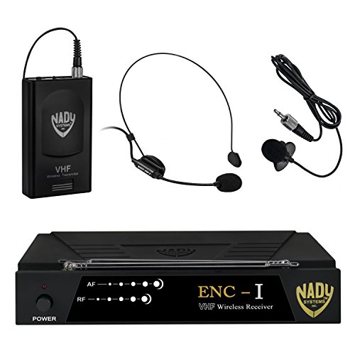 Nady ENC I Wireless Headset + Lapel/Lavalier Microphone System with True Diversity – 2 Microphone Bundle