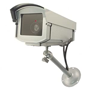2. UniquExceptional Outdoor Fake Security Cameras with LED Lights
