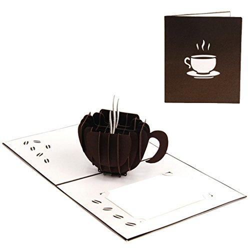JUA PORROR 3D Pop Up Greeting Cards Coffee Christmas Birthday Valentine Invitation Greeting Cards Christmas Birthday Valentine -
