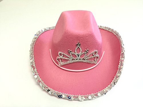 GiftExpress LED Blinking Pink Tiara Cowboy hat ()
