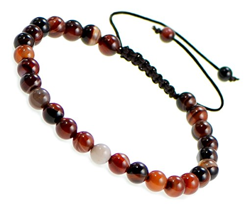 AD Beads Natural 6mm Gemstone Bracelets Healing Power Crystal Macrame Adjustable 7-9 Inch (16 Red Black Dream Agate)