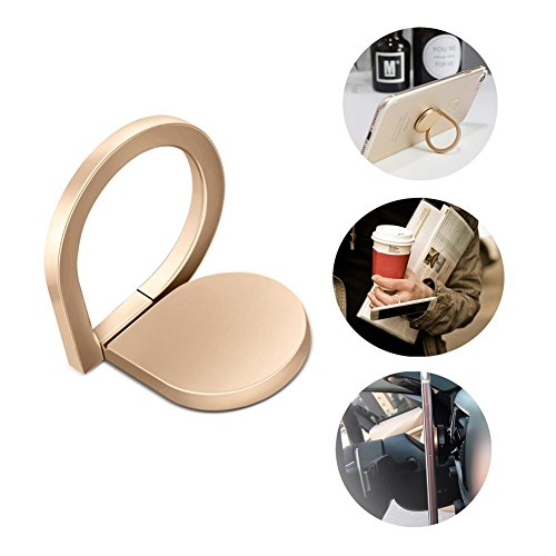 Cell phone Ring Holder, Iphone finger Grip/Stand/Kickstand/Car Mount,360°Rotation and 180°Flip ,[Washable][Removable] for iPhone Ipad Samsung Galaxy Huawei (Golden)