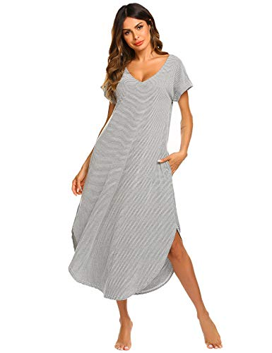 Ekouaer Ladies Nightgown Short Sleeve Nightshirts Soft Cotton Sleepwear with Side Split (Grey,M) (Cotton Nightshirt)