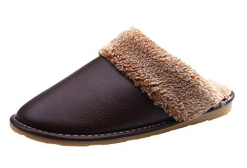 Cattior Mens Fleece Lined Soft Warm Leather Slippers Hous...