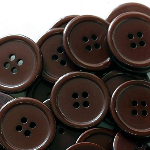 GANSSIA 1'' (25mm) Sewing Flatback Buttons Brown Colored for sale  Delivered anywhere in USA
