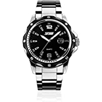 Mens Stainless Steel Band Analog Quartz Watch Dress Wrist Unique Business Casual Waterproof Watches Classic Calendar Date Window - Black