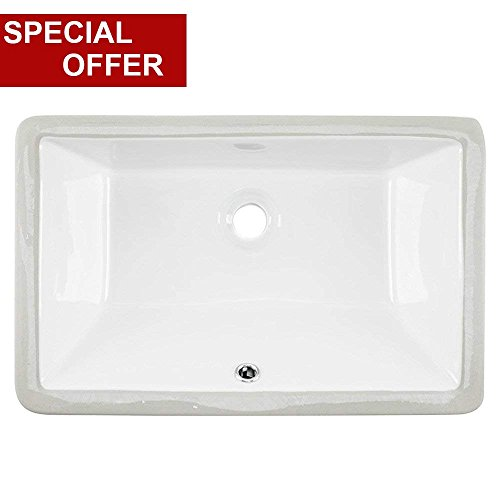 20.87''x13.58''x7.09'' Contemporary Under Counter Basin Lavatory Vanity Sink Rectangular Procelain Undermount Ceramic Bathroom Sink, Bathroom Sinks White With Overflow by VALISY