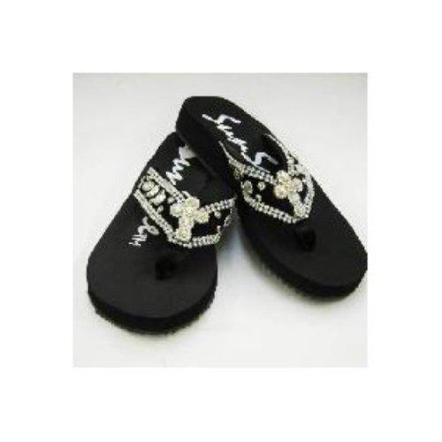 Strass Kruis Zwarte Flip Flop Sandalen