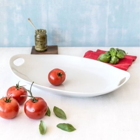 Better Homes and Gardens Porcelain Oval Handled Tray, White (Oval Porcelain Tray)