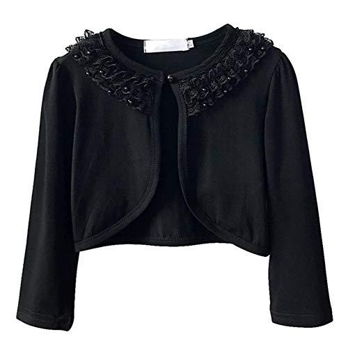 Sinmoocy Girls Shrug Bolero Cardigans Flower Girls Bridesmaid Dress Cover up Short Jacket Lace Black 3-4Years