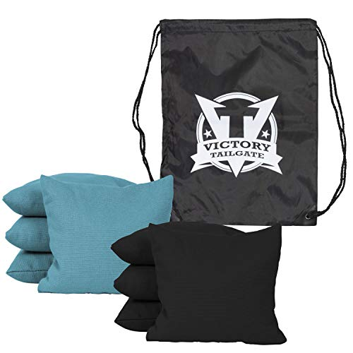 Victory Tailgate 8 Colored Corn Filled Regulation Cornhole Bags with Drawstring Pack (4 Black, 4 Turquoise) by Victory Tailgate (Image #1)