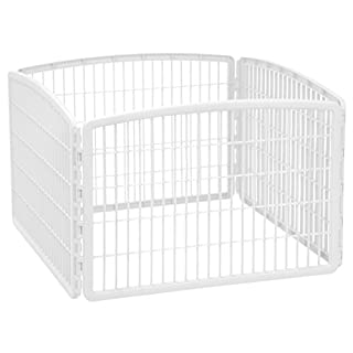 "IRIS USA 24"" Exercise 4-Panel Pet Playpen without Door, White"