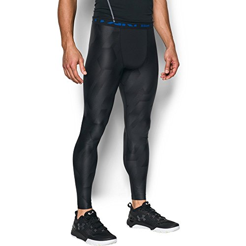 Under Armour Men's HeatGear Armour Printed Compression Leggings, Black/Blue Marker, Large