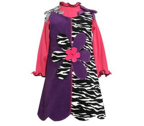 Rare Editions Girls 4-6x Purple to Zebra Corduroy Jumper Dress (5)