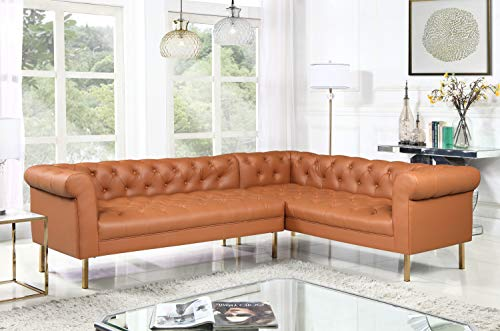 Iconic Home Noah Right Facing Sectional Sofa L Shape PU Leather Upholstered Button Tufted Roll Arm Design Solid Gold Tone Metal Legs, Modern Transitional, Camel