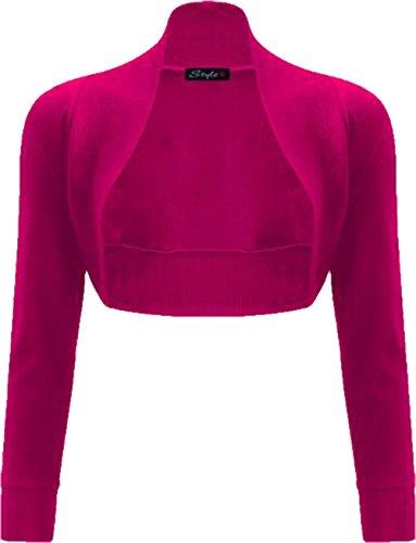 Janisramone Mujeres algodón liso acanalado camiseta de manga larga bolero encogimiento Cereza