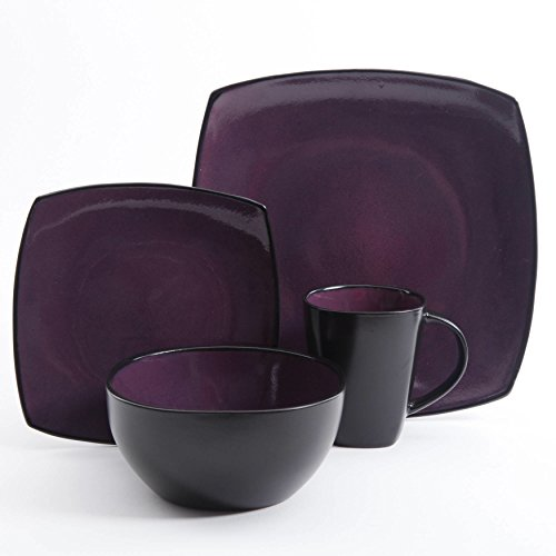 Stoneware Solid Print Purple 16-piece Square Dinnerware Set by Gibson Dinnerware Collection