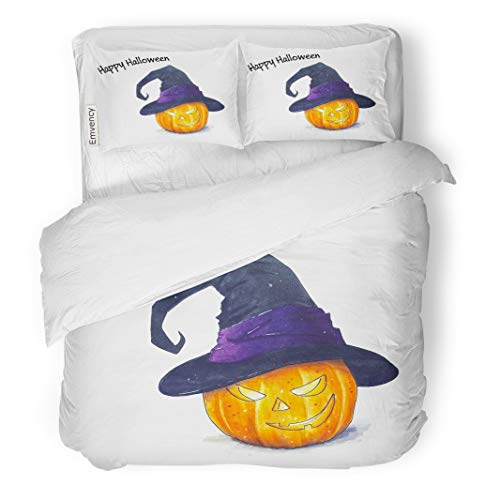 (Tarolo Bedding Duvet Cover Set Brown Autumn Halloween Pumpkin Sketch on White Orange Candle Delicious Draw 3 Piece Twin 68