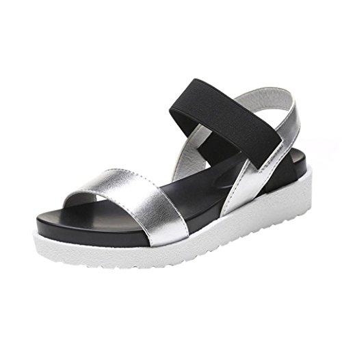 YFF Flache Sandalen Schlüpfen Sie in die Schuhe Frau Casual Schuhe Frauen Schuhe, blau, 6.