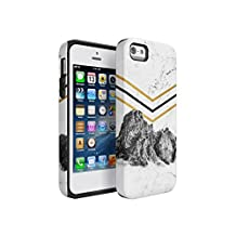 Rocky Mountains On White Cracked Marble Hard Plastic Shell & TPU Bumper Double Layer Tough Phone Case For Apple iPhone 5 & iPhone 5s