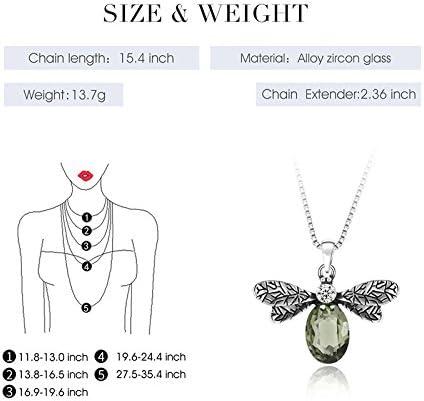 Scrox Elegant Women Necklace Earring Set Fashion Atmosphere Pendant Green Bee Design Women Jewelry Set,Necklace+Earrings