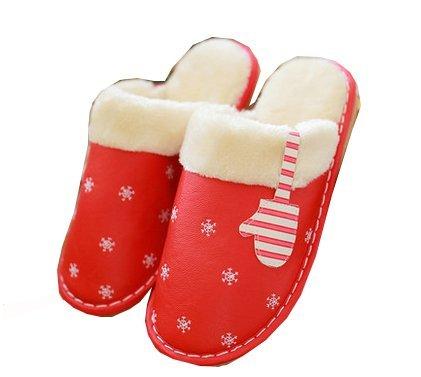 Blubi Donna In Pelle Sintetica Guanti Caldi In Peluche Con Fiocco Di Neve Stampa Ciabatte Di Casa Pantofole Rosse