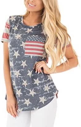 Xuan2Xuan3 Women American Flag 4th July T Shirt Short Sleeve Stars and Stripes Camo USA Independence Day Top