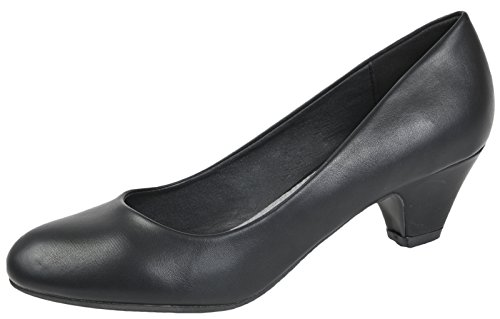 Womens Slip On Low Block Heels Comfort Work Office Loafer Court Shoes Ladies Girls Size UK 3-8 Pu - Leather Lined 3wRjXB