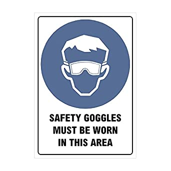 "ezyPRNT Mandatory Safety Sign Self Adhesive Vinyl, Legend ""Safety Goggles must be Worn in this Area"", 10"" Height, 7"" Width, Blue and Black on White at amazon"