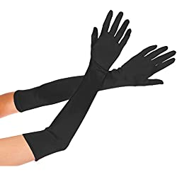 Deceny CB Long Satin Gloves for Women Evening Party Gloves Formal Bridal Gloves (20.5 in, Black)