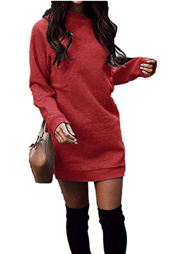Xuan2Xuan3 Women's Fleece Long Sweatshirt Dress Crewneck Pullover Casual Long Sleeve Bodycon Mini Sweater Dress Red