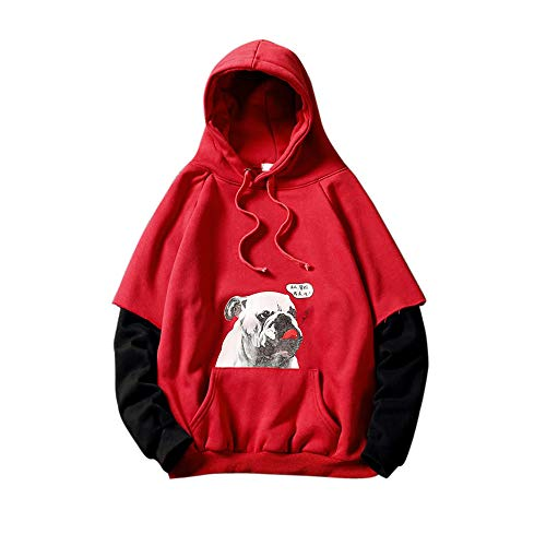 HYIRI Print Hooded Fake Two-Piece SweaterMen's Autumn Winter Long Sleeved Tops Blouse (Turtleneck Sleeved Girls Ribbed Long)