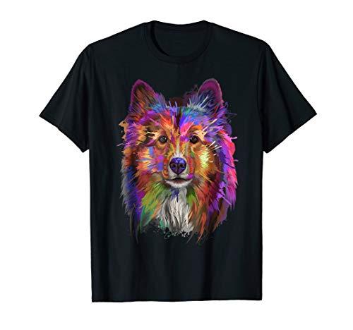 Splash Art Shetland Sheepdog T-Shirt   Cute Sheltie Gifts