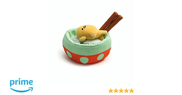 Gund Anime: Sanrio Gudetama The Lazy Egg - Descansando en Noodle Bowl con Palillos, Felpa, 11.4 CM