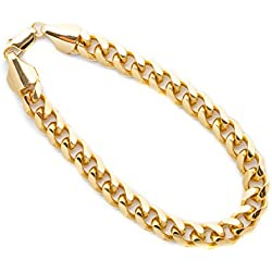 Gold Cuban Link Bracelet, 9MM, Round, 24K Overlay Premium Fashion Jewelry, Resists Tarnishing, Guaranteed for Life, 10 Inches