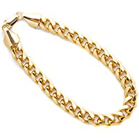 Lifetime Jewelry Cuban Link Bracelet 9MM, Round, 24K Gold with Inlaid Bronze, Premium Fashion Jewelry, Thick Layers Help Resist Tarnishing, 8 - 10 Inches