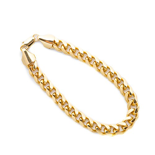 Lifetime Jewelry Cuban Link Bracelet 9MM, Round, 24K Gold with Inlaid Bronze, Premium Fashion Jewelry, Thick Layers Help Resist Tarnishing, 8 Inches