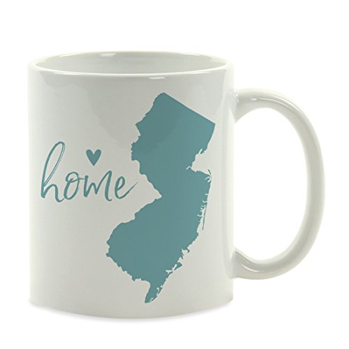 Andaz Press 11oz. US State Coffee Mug Gift, Aqua Home Heart, New Jersey, 1-Pack, Unique Hostess Distance Moving Away Christmas Birthday Gifts for Her