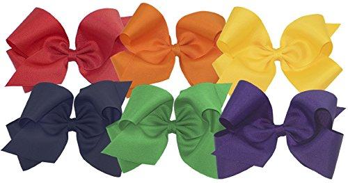 Wee Ones Girls' King Bow 6 pc Set Solid Grosgrain Variety Pack on a WeeStay Clip - Red, Orange, Yellow, Navy, Green, Purple