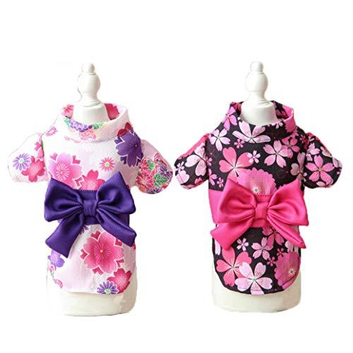 LVYING Bowknot Dog Dress Summer Pet Clothes Japan Kimono Ethnic Chihuahua Puppy Cat Floral Princess Costumes -
