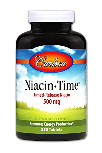 Carlson Niacin-Time 500 mg, Vitamin B-3, Time-Released, 250 Tablets